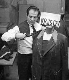Uncle Angelo making a jacket for Nikita Khrushchev in October 1957. Single brested 3 buttons. @ Luca Litrico Lifestyle Fashion changes, but not so much really! #TrueLuxuryisthePleasureofChoice