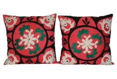 One Kings Lane - Magnificent Medley - Uzbek Suzani Pillows, Pair