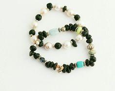 Bohemian beaded bracelet set - pearl Turquoise gemstone bracelets - stacking layering set of bracelets  - lava rock beads - rustic bracelets by…