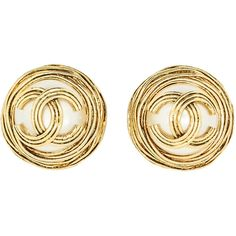 Chanel Vintage Gold Pearl CC Logo Birds Nest Earrings (£350) ❤ liked on Polyvore featuring jewelry, earrings, gold pearl earrings, logo earrings, earrings jewelry, gold pearl jewelry and logo jewelry