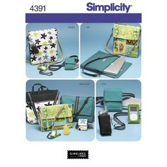 Simplicity sewing pattern for tech gear bags and accessories includes laptop bags, messenger bag, game system tote, cell phone case, camera case and music player case.