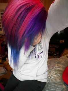 #pink, #purple, and #blue #dyed #hair