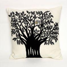 Charlene Mullen Forest Mr & Mrs Woo Cushion: Black on White Linen Hand Embroidered