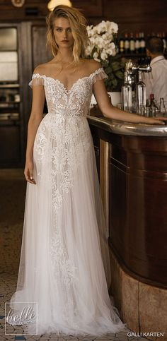 "Gali Karten 2019 Wedding Dresses — ""Paris"" Bridal Collection gali karten 2019 bridal off the shoulder v neck full embellishment romantic soft a line wedding dress backless open v back chapel train mv — Gali Karten 2019 Wedding Dresses Wedding Dress Tea Length, Gorgeous Wedding Dress, Best Wedding Dresses, Tulle Wedding, Bridal Dresses, Wedding Gowns, Outdoor Wedding Dress, Vintage Boho Wedding Dress, Backless Wedding Dresses"