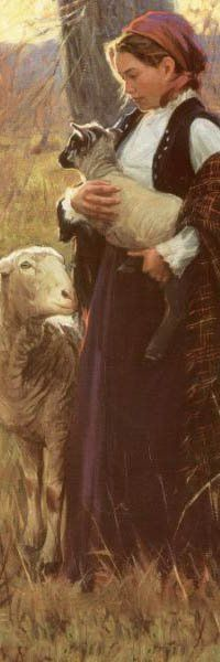Young shepherdess and lamb. I wish I knew the painting name. I love the light.