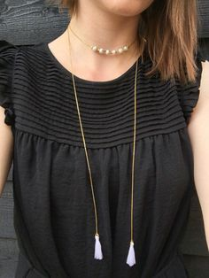 Bohemian style Gold colored choker lariat bolo necklace with mini tassels