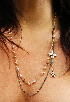 Perfect Summer Necklace - Hand Wired one by one - hours and hours of work.  Love it