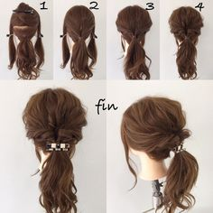 くりりんぱポニーテール(^^) 1、サイドとトップの髪をよけてポニーテールします! 2、トップの髪をポニーテールの結び目の上でくるりんぱします! 3、サイドの髪を同じくくるりんぱします! 4、3つをまとめてゴムで結び、全体的に崩します! ヘアアクセをつけて完成です(^^)