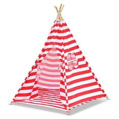 5 Poles Childs Teepee Kids Play Tent Canvas Indoor Outdoor Tipi Playhouse Red & White