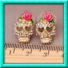 I just discovered this while shopping on Poshmark: Rhinestone Pink Skull Earrings. Check it out! Price: $12 Size: OS