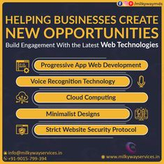 We help businesses create new opportunities and build engagement with the latest web technologies: progressive app web development, voice recognition technology, cloud computing, minimalist designs, strict website security protocol, etc. Call ☎️ at : +91-9015-799-394 . #development #websitedevelopment #webdevelopment #website #websitedesign #webdesign #developer #designing #technology #ecommerce #creative #design #software #softwaredevelopment #startup #business Parallax Website, Creative Design, Web Design, Website Security, Web Technology, Cloud Computing, New Opportunities, Software Development, Minimalist Design
