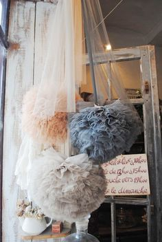 tulle poms. great for a backdrop or as a decor