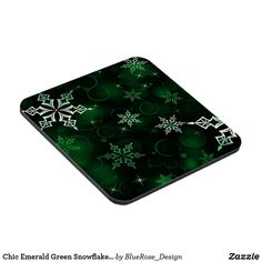 Chic Emerald Green Snowflake Motif Beverage Coaster Beer Mugs, Coffee Mugs, Custom Coasters, Christmas Items, Drink Coasters, Holiday Treats, Christmas Card Holders, Hand Sanitizer, Emerald Green