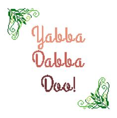 Yabba Dabba Doo Modern cross stitch sampler. Contemporary design framed by fern leaves by crossstitchtheline
