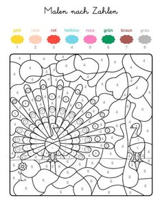 Coloring page coloring by numbers: print the peacock for free, Free Coloring Pages, Coloring For Kids, Printable Coloring, Coloring Books, Diy Crafts For Kids, Art For Kids, Color By Number Printable, French Numbers, Hidden Pictures