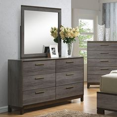 Manvel Dresser | CM7867D If you're into the unconventional, this unique bed might be right up your alley. Underlying wooden structure of the headboard is stylishly exposed, while a V-shaped section is