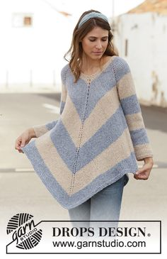 Blue Pagoda / DROPS - Free knitting patterns by DROPS Design Knitted poncho jumper in DROPS Air. The piece is worked top down with raglan and stripes. Sizes S - XXXL. Knitting Patterns Free, Knit Patterns, Knitting Designs, Free Knitting, Baby Knitting, Knitting Books, Poncho Pullover, Poncho Sweater, Drops Design