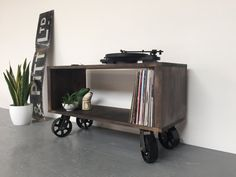 Stanton Industrial Record Player Stand / LP/ Vinyl Storage Cabinet / Console Coffee Table on Vintage Metal Wheels
