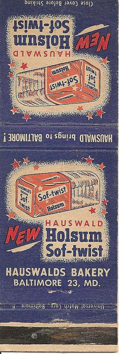 Baltimore Hauswald Bakery Holsum Bread Matchbook