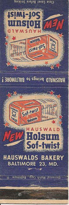 Baltimore Hauswald Bakery Holsum Bread Matchbook