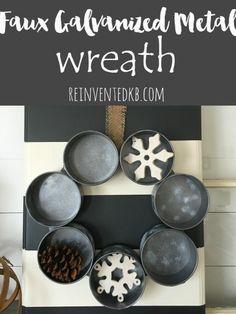 Faux Galvanized Metal Wreath