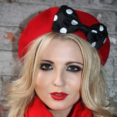 Red Beret with Black-White Polka Dot Silk Bow by Imogen's Imagination at Folksy.com