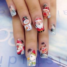 50 Beautiful Stylish and Trendy Nail Art Designs for Christmas Cute Christmas Nails, Xmas Nails, Christmas Nail Designs, Holiday Nails, Christmas Christmas, Santa Nails, Elegant Nail Designs, Cute Nail Art Designs, Beautiful Nail Designs