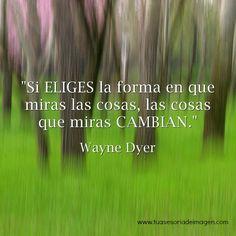 Si eliges la forma en que miras las cosas, las cosas que miras cambian. Wayne Dyer