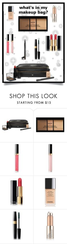 """""""what's in my make-up bag??"""" by lanabaloley ❤ liked on Polyvore featuring Anya Hindmarch, NYX, Chanel and Estée Lauder"""
