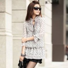 $10.32 Sweet Ruffle V-Neck Polka Dot Pleated Chiffon Three Quarter Sleeve Dress For Women