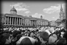 Pillow fight Trafalgar Square by mante77, via Flickr