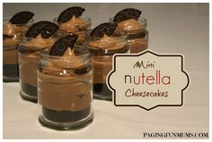 Mini Nutella Cheesecakes Jenni and I both LOVE Nutella…we both also love mini cheesecakes in recycled baby food jars – as you can see here and here. It was only a matter of time before we tried to combine all of the above ;). We adapted the original recipe we found here at Chocolate Suze. …