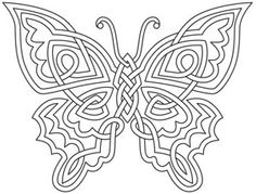Soft lines of this celtic knot inspired design come together sweetly in this butterfly. Downloads as a PDF. Use pattern transfer paper to trace design for hand-stitching. #celtic_butterfly_tattoo