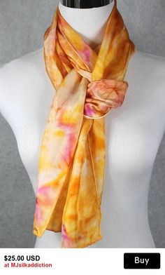 """Hand painted silk scarf 8""""x72"""" pink, orange and yellow abstract"""