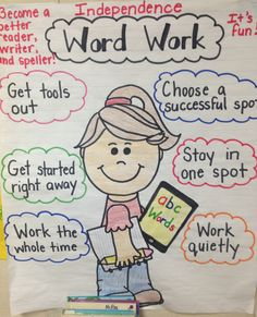 Word work anchor chart; Daily 5