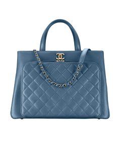 Large shopping bag, grained calfskin, calfskin & gold-tone metal-blue - CHANEL