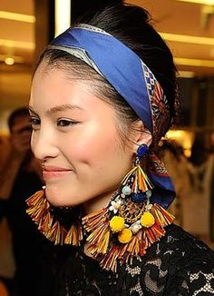 Spring 2013 trend tribal headband and earrings seen at Dolce and Gabbana