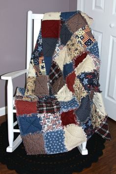 Check out this item in my Etsy shop https://www.etsy.com/listing/208420358/americana-reversible-rag-blanket
