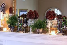 Simple and beautiful!  Decorating with mercury glass, pine cones and Christmas greens