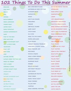 A New List of 102 Things To Do This Summer with your kids, lots of ideas for act. - A New List of 102 Things To Do This Summer with your kids, lots of ideas for activities and project - School's Out For Summer, Summer Kids, Summer Loving, Free Summer, Activities To Do, Summer Activities, Indoor Activities, Summer Crafts, Crafts For Kids