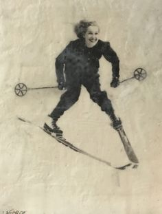 Vintage Skier encaustic painting by Lee Anne LaForge Bear Paintings, Cute Paintings, Outdoor Rink, Expressions Of Sympathy, Sports Painting, Cast Glass, Encaustic Painting, Canadian Artists, Winter Landscape