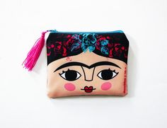 Frida Kahlo face purse original illustration. 10.5 x by Chunchitos
