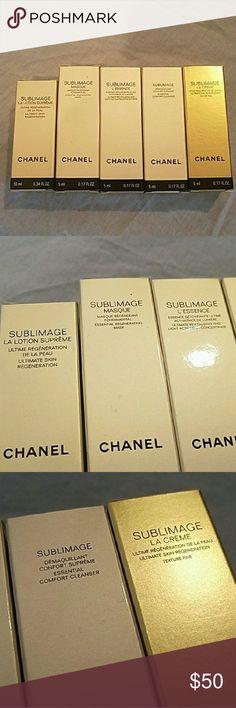Sublimage BUNDLE 5 delux Samples   La lotion 0.34 fl oz  Masque 0.17 fl oz  L'essence 0.17 fl oz Cleanser 0.17 fl oz  CREME 0.17 fl oz  New  Chanel CHANEL Makeup