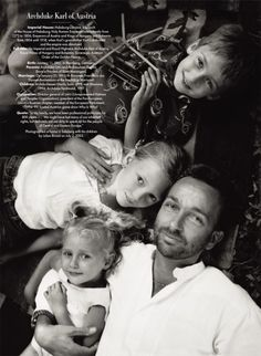 "Archduke Karl of Austria, at home in Salzburg with his children, Gloria, Eleanor, and Ferdinand, photographed by Julian Broad in July 2003. His ancestors were various Holy Roman Emperors from the 13th to 19th century, then emperors of Austria and kings of Hungary and Bohemia, until Karl's grandfather relinquished power, in 1918. ""In my family, we have been professional politicians for 800 years,"" he has said. ""We might have lost many of our inherited rights, but definitely not our duty to…"