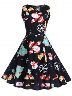 f234b57a2e4 Christmas Vintage Printed Fit and Flare Dress.  dresslily  vintage  dresses   christmas