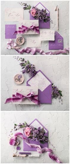 Elegant Ultra violet calligraphy wedding invitation with velvet ribbon #wedding