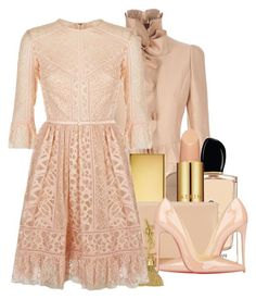 """""""head to toe nude"""" by jacisummer ❤ liked on Polyvore featuring Valentino, Christian Dior, Armani Beauty, AERIN, Yves Saint Laurent, Christian Louboutin and Elie Saab"""