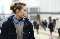 oatmeal, chambray, navy and a red lip