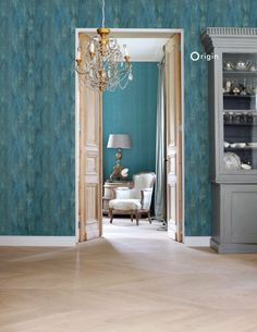 Luxury interior with sea green leaf design wallpaper | collection Identity | Origin - luxury wallcoverings