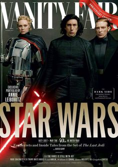 Vanity Fair covers Star Wars: The Last Jedi. First Order heavies, Gwendolyn Christie as Captain Phasma, Adam Driver as Kylo Ren and Domhnall Gleeson as General Hux Star Wars Film, Star Wars España, Starwars, Carrie Fisher, Obi Wan, Gwendolyn Christie, Tableau Star Wars, Vanity Fair Magazine, Alec Guinness